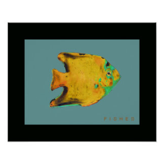 yellow fish art painting posters