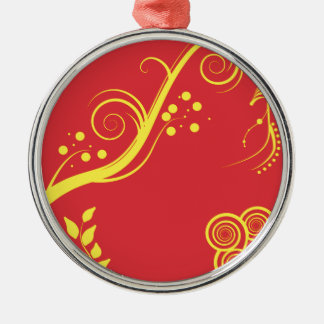 Yellow floral and swirls christmas ornament