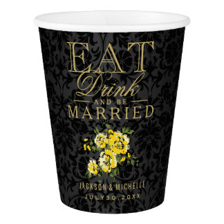 Yellow Floral Eat, Drink and be Married -Wedding