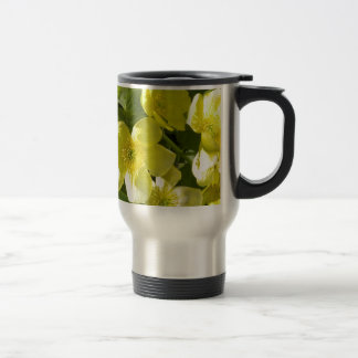 Yellow floral 15 oz stainless steel travel mug