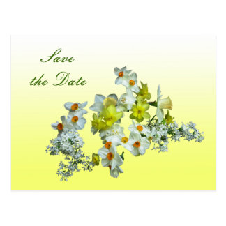 Yellow Floral Save the Date Wedding Postcard