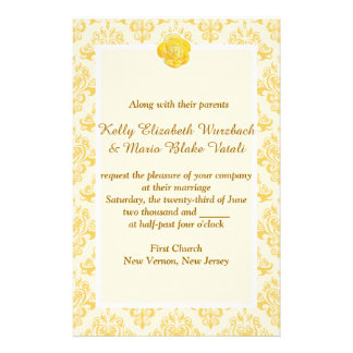 Yellow Floral wedding invitation Stationery