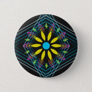 Yellow flower faded blue diamonds 6 cm round badge