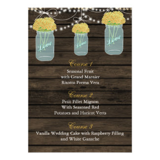 yellow flowers in a mason jar wedding menu cards