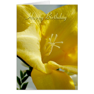 Yellow Freesia Happy Birthday Card