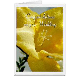 Yellow Freesia Wedding Card