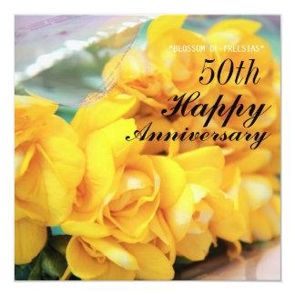 Yellow Freesias 50th Wedding Anniversary 13 Cm X 13 Cm Square Invitation Card
