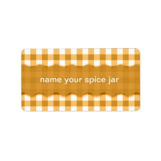 Yellow Gingham Checkered Design Kitchen Label Address Label