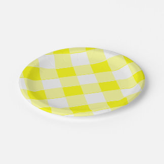 Yellow Gingham Retro 7 Inch Paper Plate