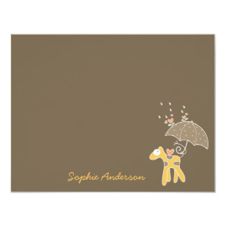 Yellow Giraffe Baby Boy Girl Shower Thank You Card Personalized Announcement