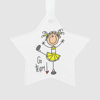 Yellow Go Team Cheerleader Ornament