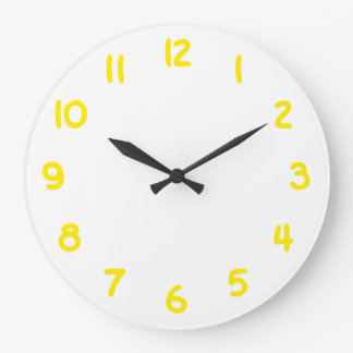 Yellow Gold Numbers Large Clock