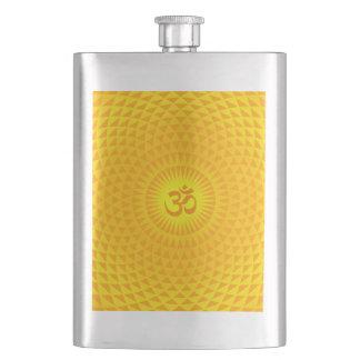 Yellow Golden Sun Lotus flower meditation wheel OM Hip Flask
