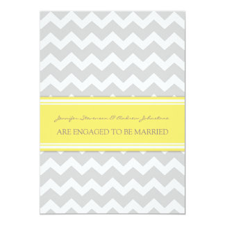 Yellow Gray Chevrons Engagement Announcement Cards