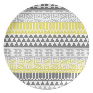 Yellow Gray Geometric Aztec Tribal Print Pattern Party Plates