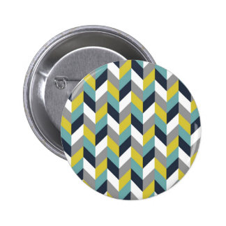 Yellow Gray Green Blue Navy Herringbone Chevron Pinback Button
