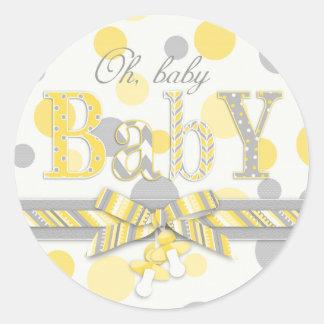 Yellow & Gray Polka Dots Baby Shower Round Sticker