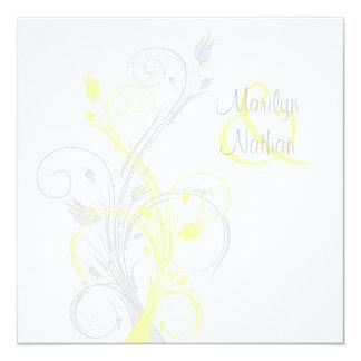 """Yellow Gray White Floral Square Wedding Invitation 5.25"""" Square Invitation Card"""