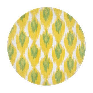 Yellow Green Abstract Tribal Ikat Diamond Pattern Cutting Board