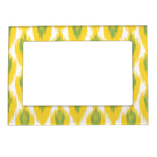 Yellow Green Abstract Tribal Ikat Diamond Pattern Magnetic Picture Frame