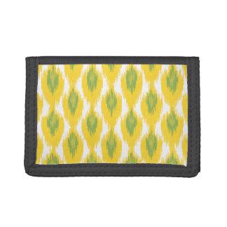 Yellow Green Abstract Tribal Ikat Diamond Pattern Trifold Wallet
