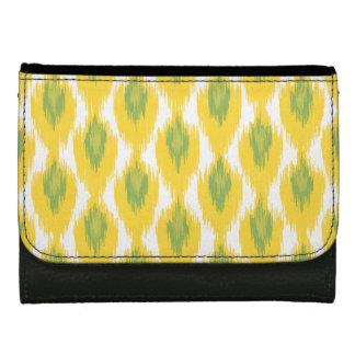 Yellow Green Abstract Tribal Ikat Diamond Pattern Wallets