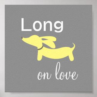 Yellow & Grey Dachshund Wiener Dog Wall Art