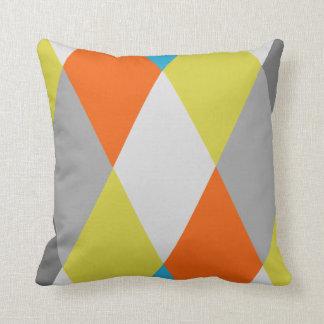 Yellow Grey Orange Blue Modern Geometric Pattern Throw Pillow
