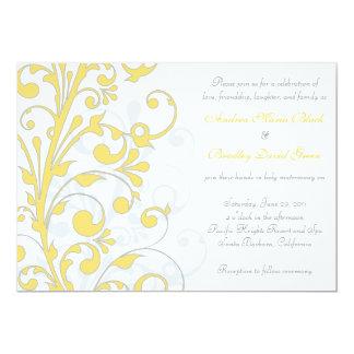Yellow, Grey White Wedding Invitation
