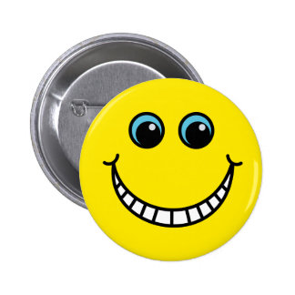 Yellow Grinning Smiley Face 6 Cm Round Badge