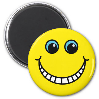 Yellow Grinning Smiley Face 6 Cm Round Magnet