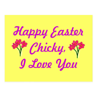 Yellow Happy Easter Chicky with Pink Flowers Postcard