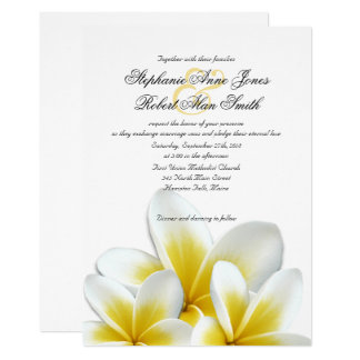 Yellow Hawaiian Plumeria Frangipani Wedding Card
