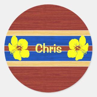 Yellow Hibiscus Fake Wood Surfboard Classic Round Sticker