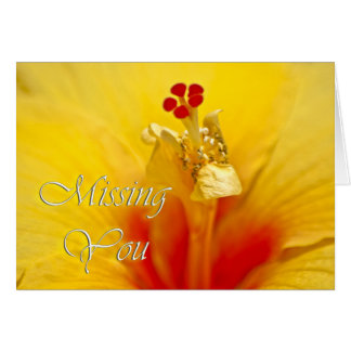 Yellow Hibiscus Miss You Greeting Card
