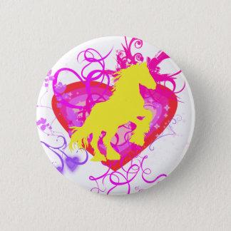yellow horse 6 cm round badge