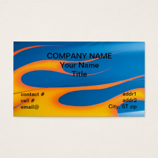 yellow hotrod flames on blue business card