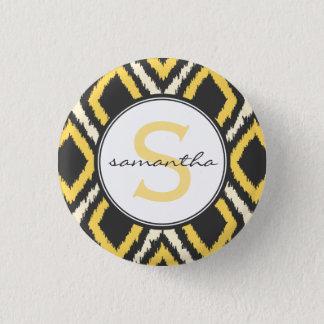Yellow Ikat Monogram 3 Cm Round Badge