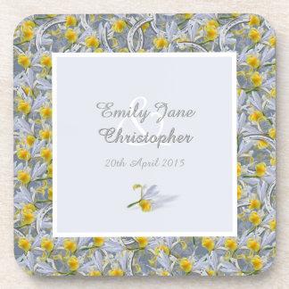 Yellow irises and horseshoes beverage coasters