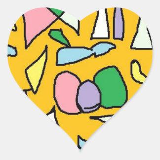 Yellow Jewel Heart Sticker