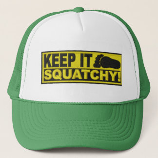 """Yellow KEEP IT SQUATCHY!  """"embroidered-look"""" print Trucker Hat"""