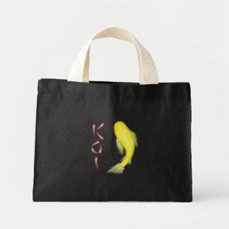 """Yellow Koi Fish w/ Red """"KOI"""" Mini Tote Bag"""