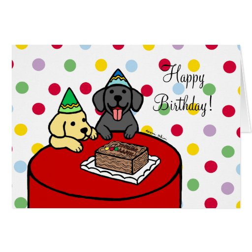 Yellow Lab & Black Lab Birthday Card