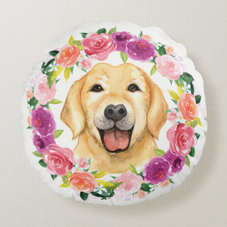 Yellow Lab Dog with Floral Wreath Pillow