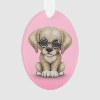 Yellow Lab Puppy Dog with Reading Glasses, pink Ornament