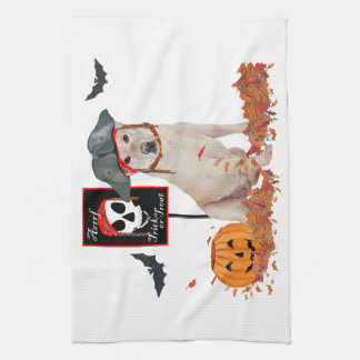 Yellow Labrador Retriever Halloween Tea Towel