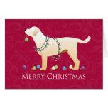 Yellow Labrador Retriever Merry Christmas Design Greeting Card