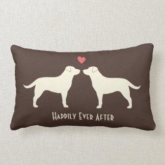 Yellow Labradors - Wedding Dogs with Text Lumbar Pillow