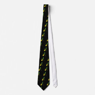 Yellow Lady Slipper Flower Nature Neck Tie