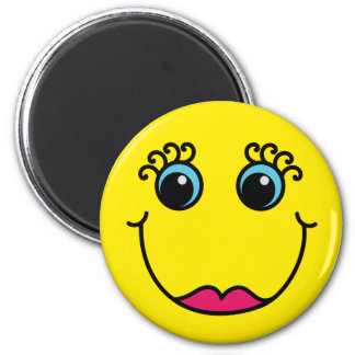 Yellow Lady Smiley Face 6 Cm Round Magnet